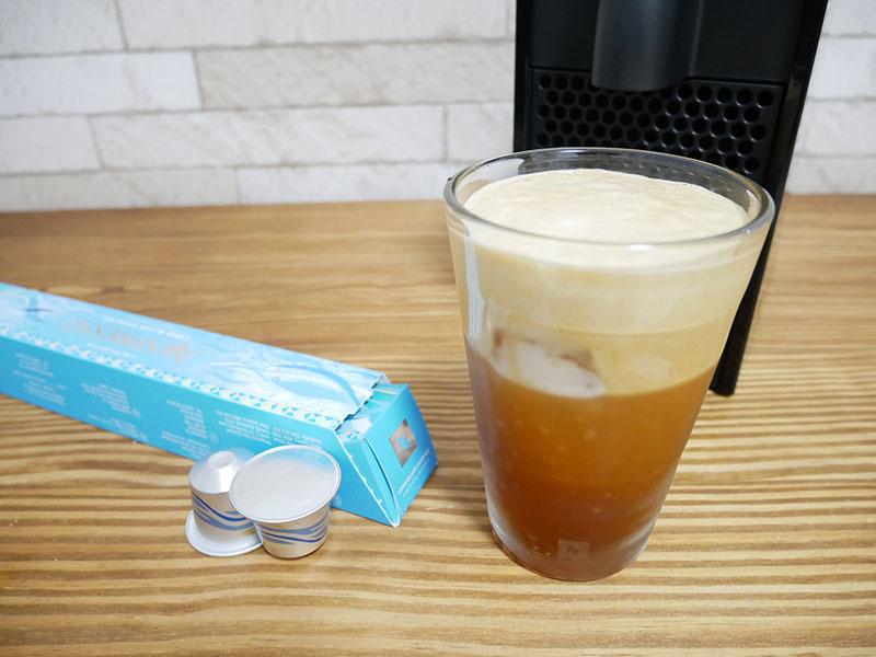 ネスプレッソのアイスコーヒー「ロングブラック・オーバー・アイス」カプセル:炭酸水入り