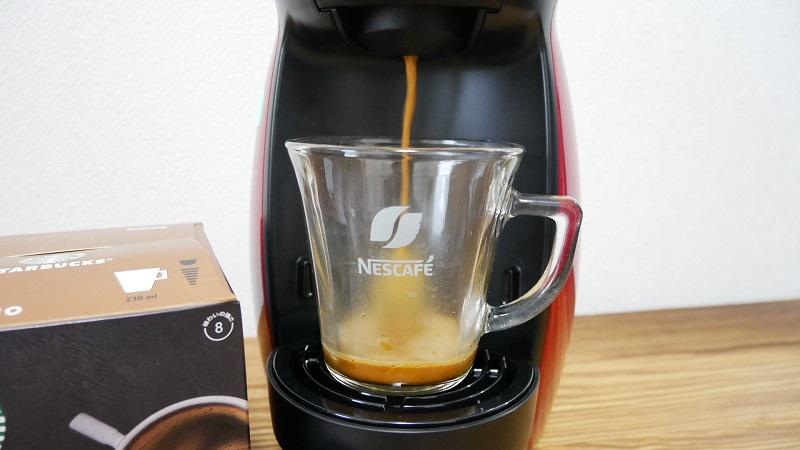 ドルチェグスト「ジェニオ アイ」の口コミレビュー「使い方」コーヒー抽出開始の写真