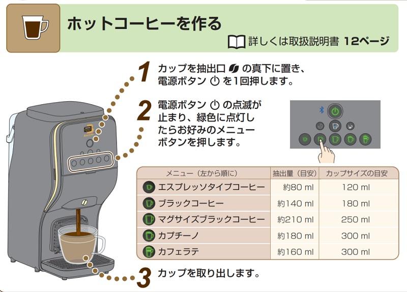 バリスタ デュオの使い方:ホットコーヒーの作り方