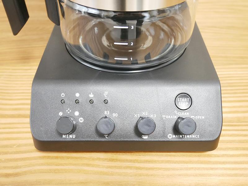 ツインバードのコーヒーメーカー「CM-D457」の操作部分